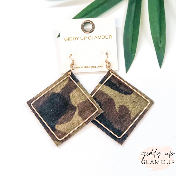 Diamond Shaped Earrings with Gold Wire Overlay in Camouflage