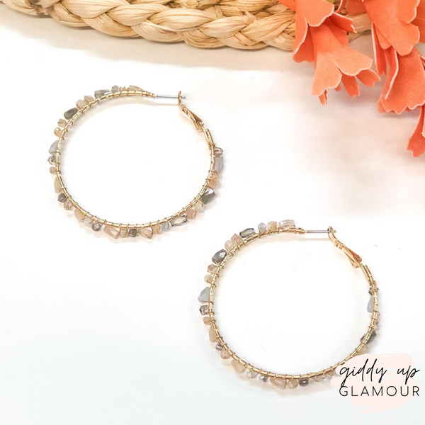 Gold Hoop Earrings with Neutral Crystals