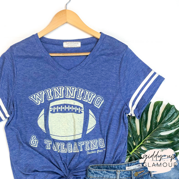 Winning and Tailgating V Neck Graphic Tee with Varsity Stripes in Blue