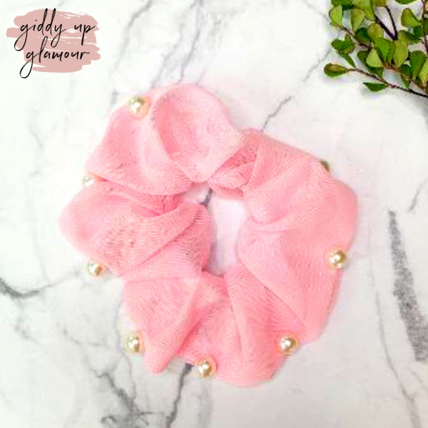 Uptown Flare Pearl Embroidered Hair Scrunchie in Light Pink