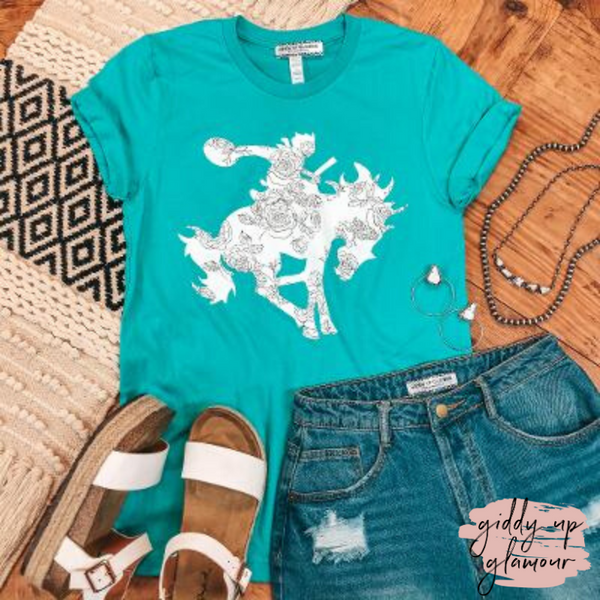 Tough Buck Saddle Bronc Graphic Tee in Turquoise