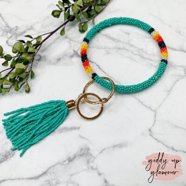 Beaded O Bangle Key Ring with Serape Accents and Tassel in Turquoise