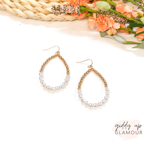 Pearl Teardrop Hoop Earrings in Gold