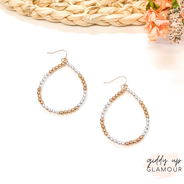 Beaded Teardrop Hoop Earrings in Gold and Silver