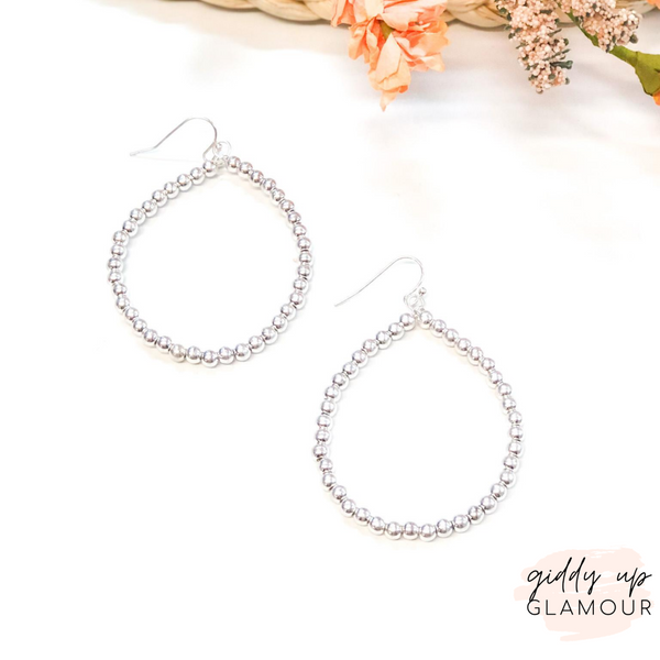Beaded Teardrop Hoop Earrings in Silver