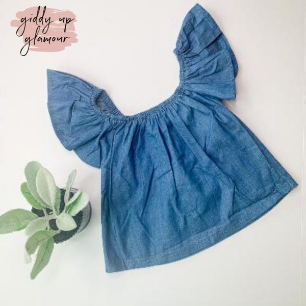 Children's | Chime In Light Chambray Denim Off The Shoulder Top