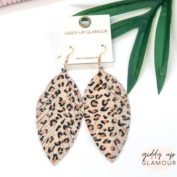 Faux Hair on Hide Feather Cut Earrings in Leopard