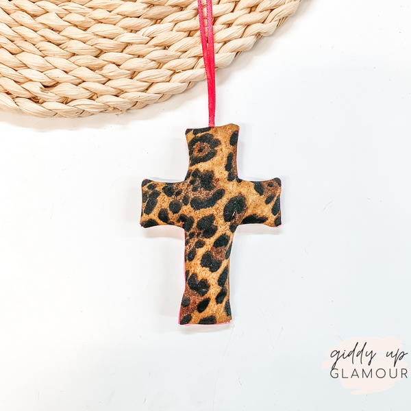 Leopard with Pink Print Cross Shaped Freshie in Birds of Paradise