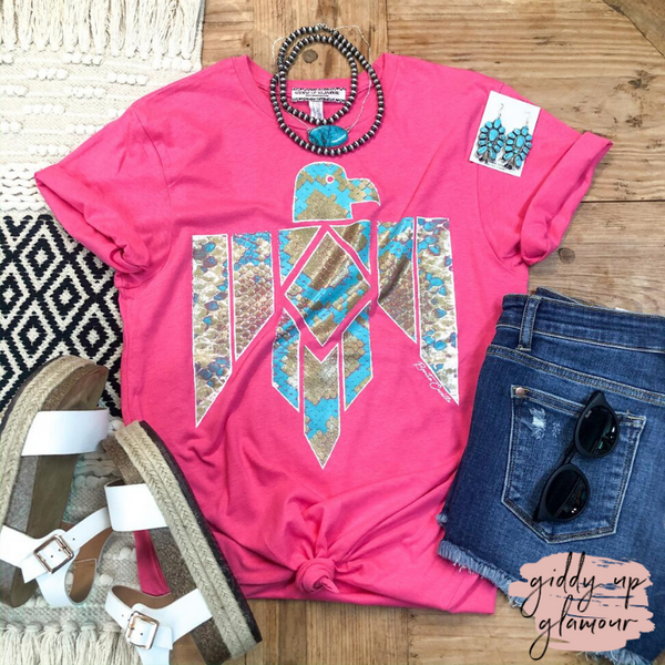 Stir the Wind Snakeskin Thunderbird Graphic Tee in Hot Pink