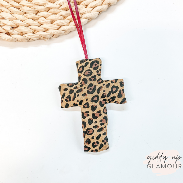 Leopard Print Cross Shaped Freshie in Fierce