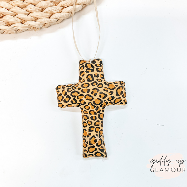 Leopard Print Cross Shaped Freshie in Vanilla Leather