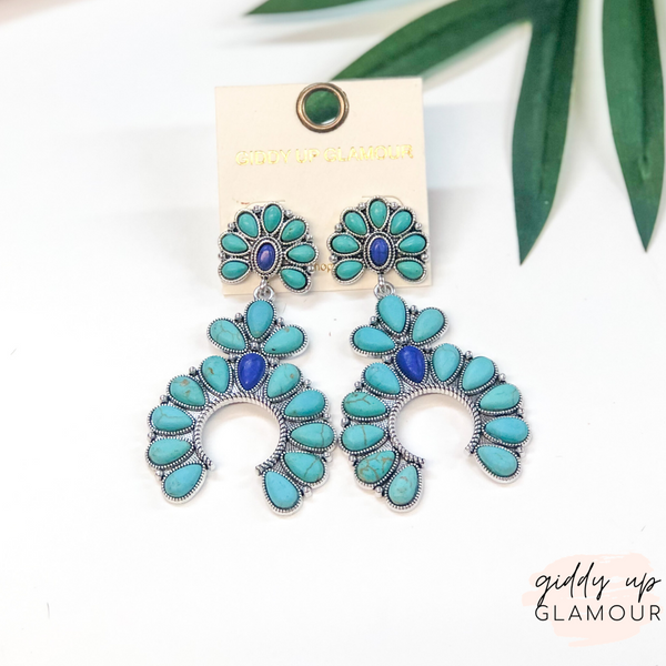 Squash Blossom Drop Earrings in Turquoise and Navy