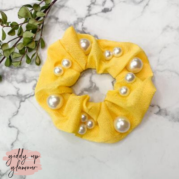 Uptown Flare Large Pearl Embroidered Hair Scrunchie in Yellow
