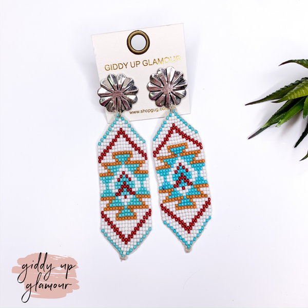 Beaded Ribbon Drop Earrings with Concho Post in Aztec