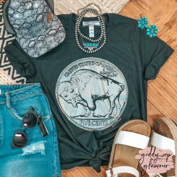 Free to Wander Buffalo Nickle Western Graphic Tee in Black
