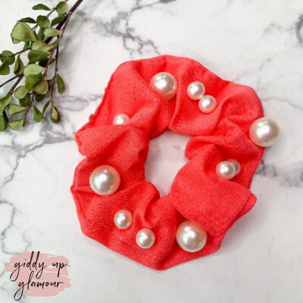 Uptown Flare Large Pearl Embroidered Hair Scrunchie in Coral