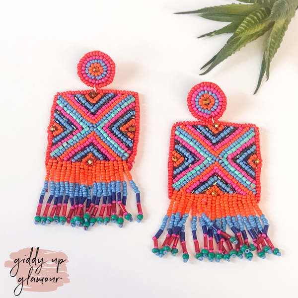Bahama Mama Beaded Square Drop Earrings in Multi Orange