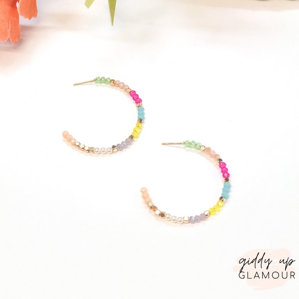 Small Crystal Beaded Hoop Earrings in Multi