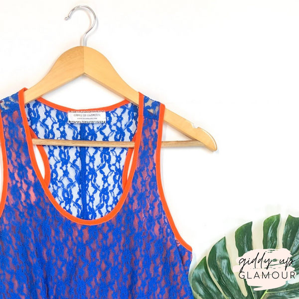Orange Asymmetrical Hem Tank Top with Lace Overlay in Royal Blue