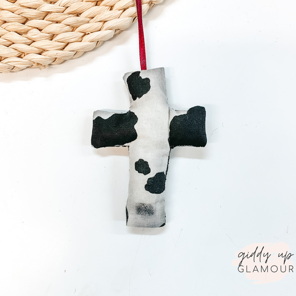 Cowhide Print Cross Shaped Freshie in Vanilla