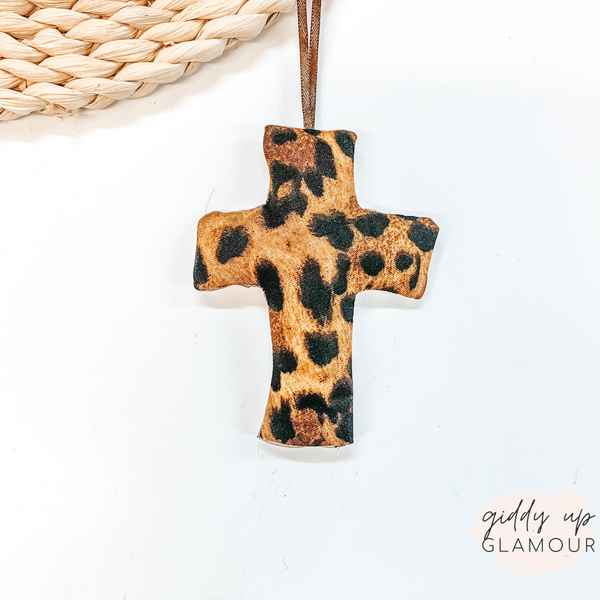 Leopard Print Cross Shaped Freshie in Vanilla