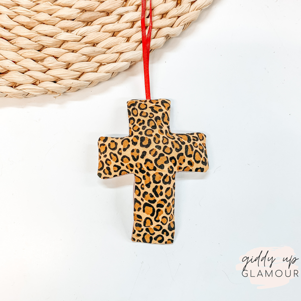 Leopard Print Cross Shaped Freshie in Love Spell