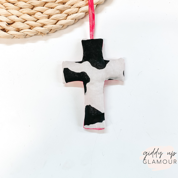 Cowhide Print Cross Shaped Freshie in Love Spell