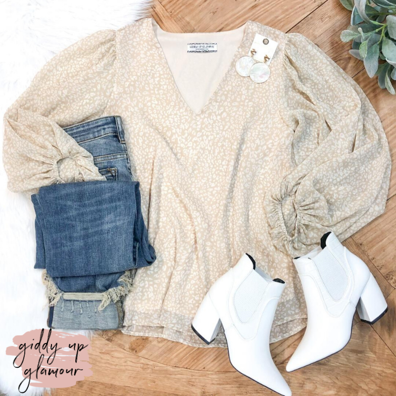 There She Goes Leopard V-Neck Blouse with Long Bubble Sleeves in Beige