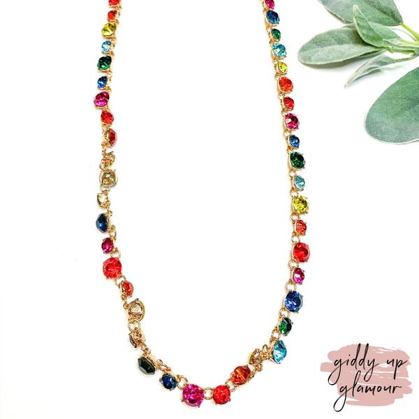 Link Necklace with Round Rainbow Crystals in Gold