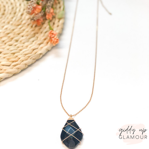 Stone Teardrop Necklace with Gold Wiring in Black