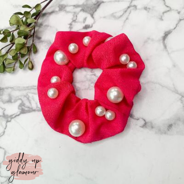 Uptown Flare Large Pearl Embroidered Hair Scrunchie in Fuchsia