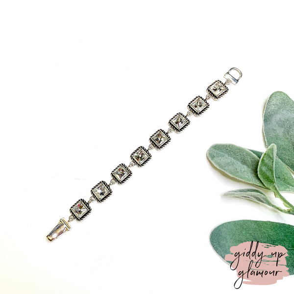 Link Bracelet with Square Crystals in Silver
