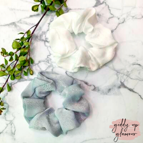 Set of Two | Elegant Details Hair Scrunchies in White and Grey