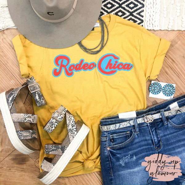 Rodeo Chica Vintage Graphic Tee in Mustard Yellow