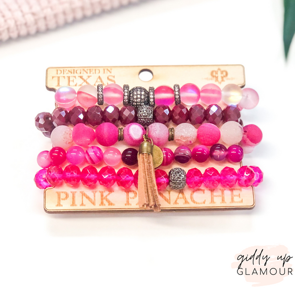 Pink Panache | Crystal Beaded Bracelet Set with Leather Tassel in Fuchsia