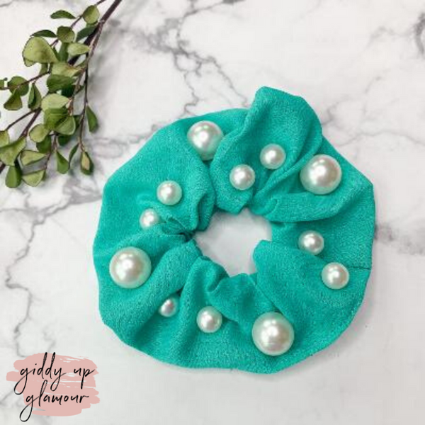 Uptown Flare Large Pearl Embroidered Hair Scrunchie in Aqua