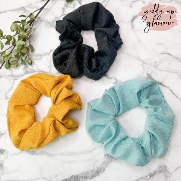 Set of Three | Elegant Details Hair Scrunchies in Mustard, Turquoise, and Black