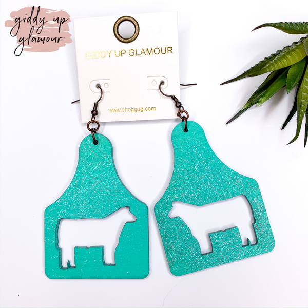 Ear Tag Earrings with Steer Cut Outs in Turquoise