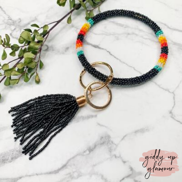Beaded O Bangle Key Ring with Serape Accents and Tassel in Black