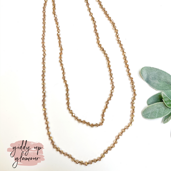 60 Inch Long 6 mm Layering Crystal Strand Necklace in Clear Taupe AB