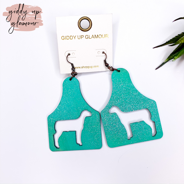 Ear Tag Earrings with Sheep Cut Outs in Turquoise