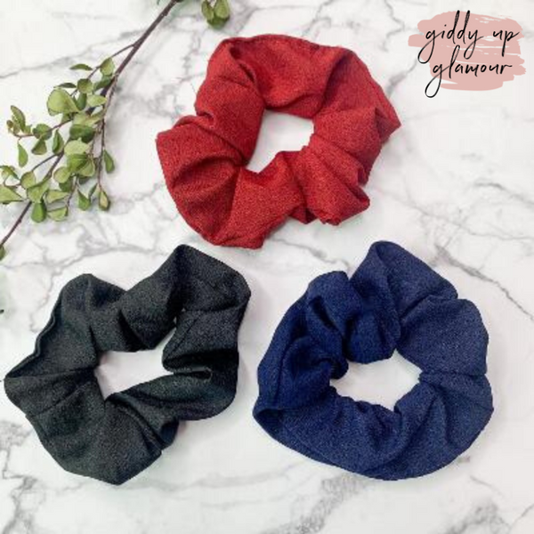 Set of Three | Elegant Details Hair Scrunchies in Navy, Maroon, and Black
