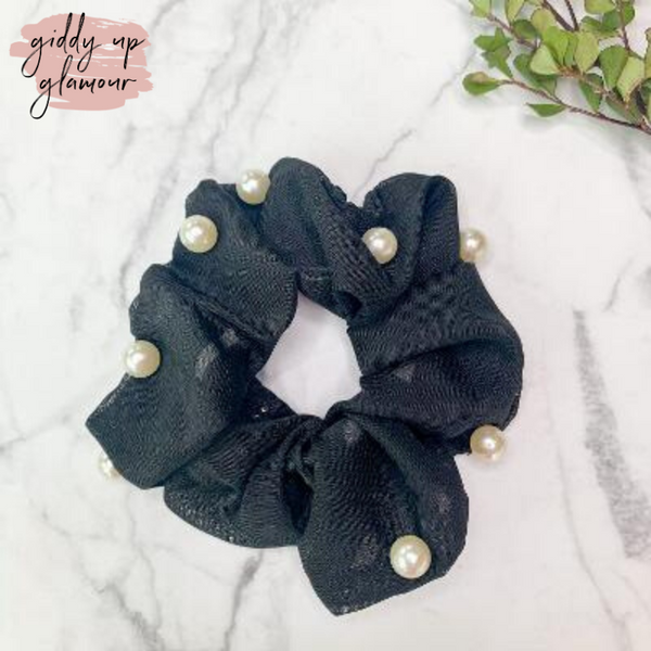 Uptown Flare Pearl Embroidered Hair Scrunchie in Black
