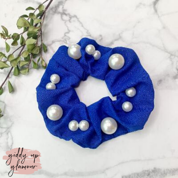Uptown Flare Large Pearl Embroidered Hair Scrunchie in Royal Blue
