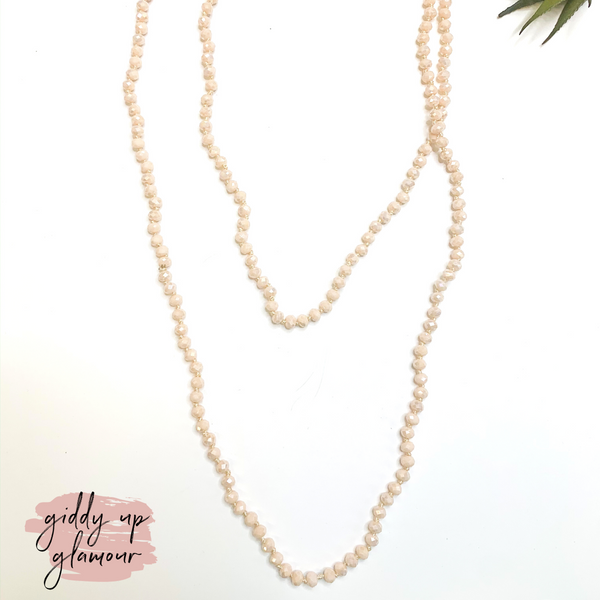 60 Inch Long 6 mm Layering Crystal Strand Necklace in Blush Pink