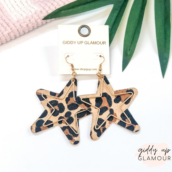 Star Shaped Earrings with Gold Wire Overlay in Leopard