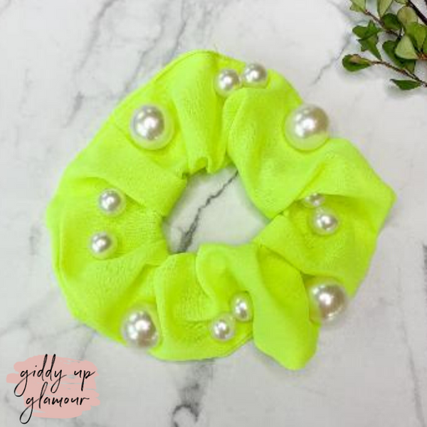 Uptown Flare Large Pearl Embroidered Hair Scrunchie in Neon Yellow