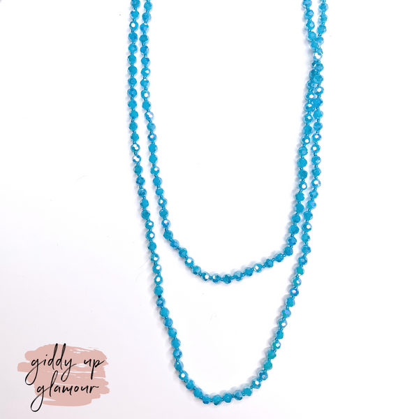 60 Inch Long 6 mm Layering Crystal Strand Necklace in Sky Blue