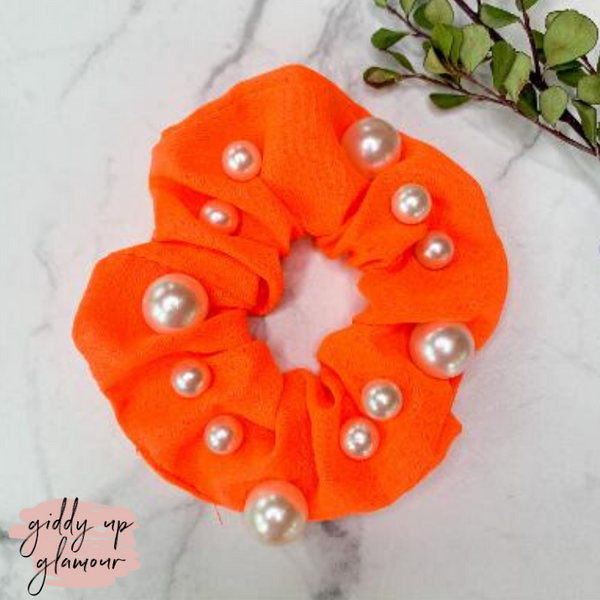 Uptown Flare Large Pearl Embroidered Hair Scrunchie in Neon Orange