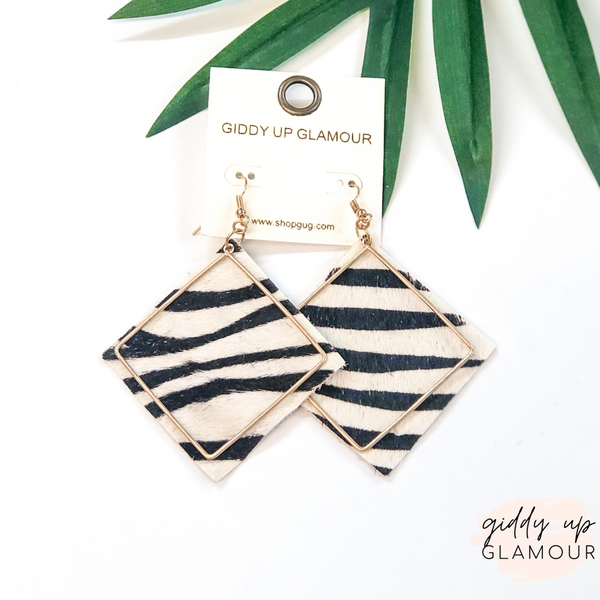 Diamond Shaped Earrings with Gold Wire Overlay in Zebra